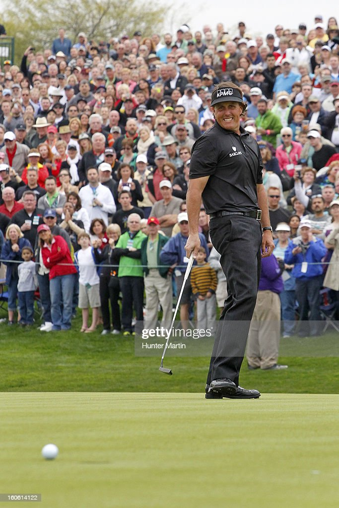 Phil Mickelson reacts after nearly making his birdie putt on the 18th hole during the final round of the Waste Management Phoenix Open at TPC Scottsdale on February 3, 2013 in Scottsdale, Arizona.