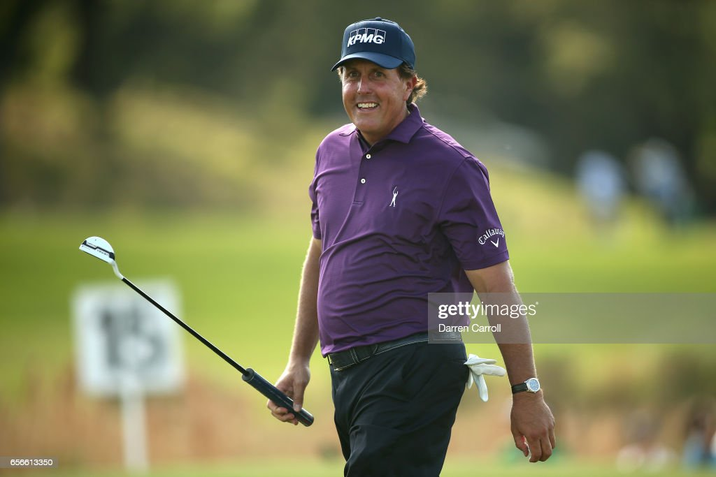 Phil Mickelson reacts after putting on the 15th hole of his match during round one of the World Golf Championships-Dell Technologies Match Play at the Austin Country Club on March 22, 2017 in Austin, Texas.
