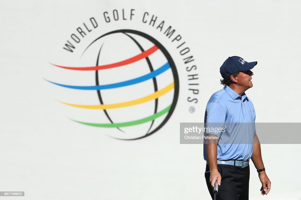 Phil Mickelson reacts after putting on the 16th hole of his match during round five of the World Golf Championships-Dell Technologies Match Play at the Austin Country Club on March 25, 2017 in Austin, Texas.