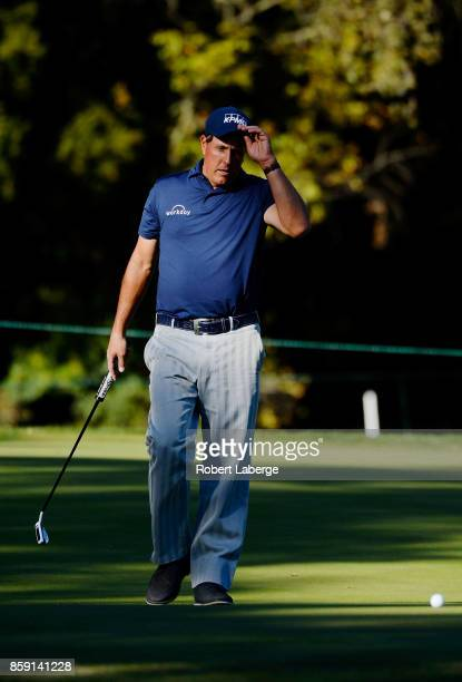Phil Mickelson reacts to a missed putt on the 15th hole during the final round of the Safeway Open at the North Course of the Silverado Resort and...