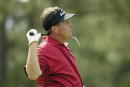Phil Mickelson reacts to a poor drive off the 16th tee during The International on August 9 2003 at Castle Pines Golf Club in Castle Rock Colorado
