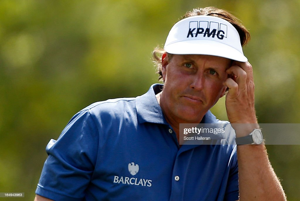 Phil Mickelson reacts to a poor tee shot on the eighth hole during the second round of the Shell Houston Open at the Redstone Golf Club on March 29, 2013 in Humble, Texas.