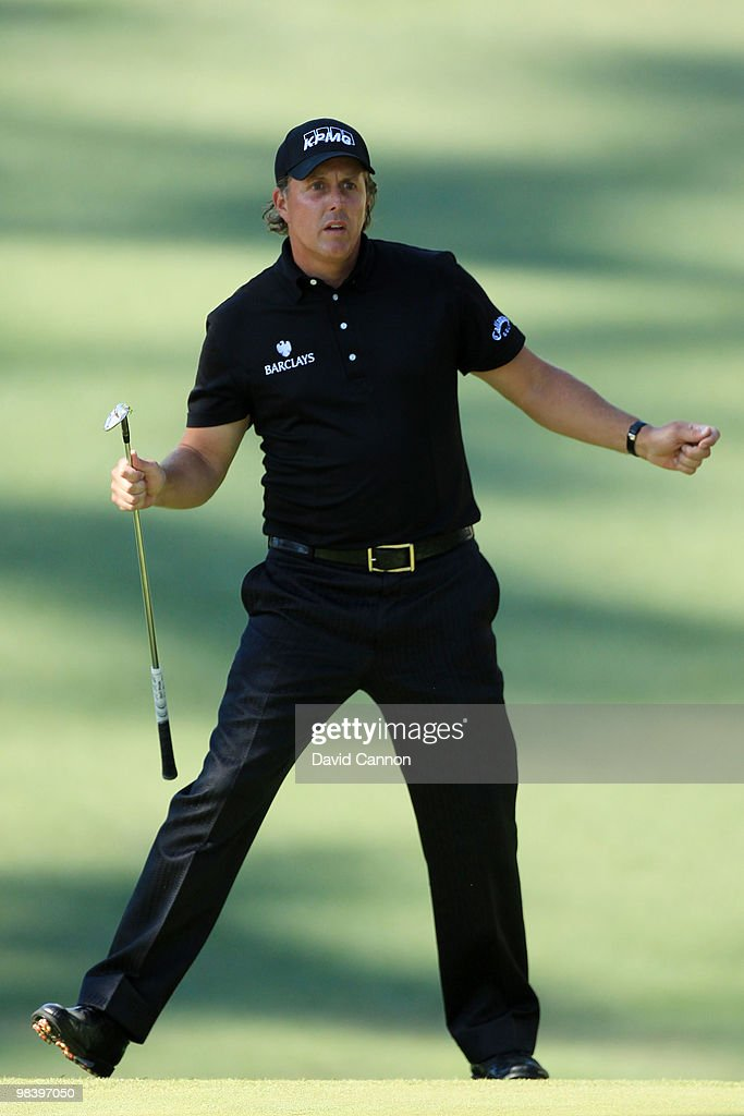Phil Mickelson reacts to a shot on the tenth hole during the final round of the 2010 Masters Tournament at Augusta National Golf Club on April 11, 2010 in Augusta, Georgia.