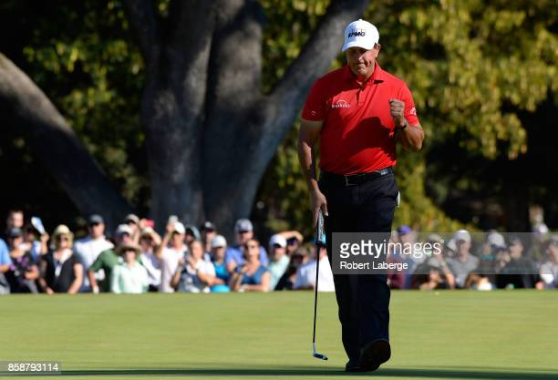 Phil Mickelson reacts to his putt on the 13th hole during the third round of the Safeway Open at the North Course of the Silverado Resort and Spa on...