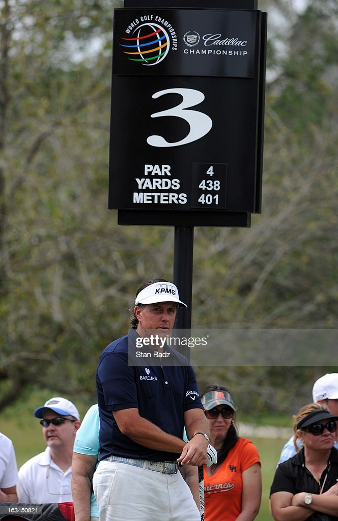 Phil MIckelson reflects on the third hole during the third round of the World Golf Championships-Cadillac Championship at TPC Blue Monster at Doral on March 9, 2013 in Doral, Florida.