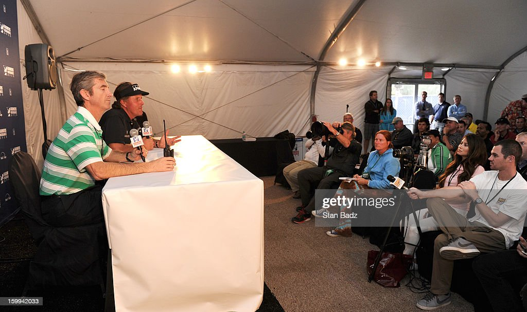 Phil Mickelson speaks to the media after his Pro-Am round for the Farmers Insurance Open at Torrey Pines Golf Course on January 23, 2013 in La Jolla, California.