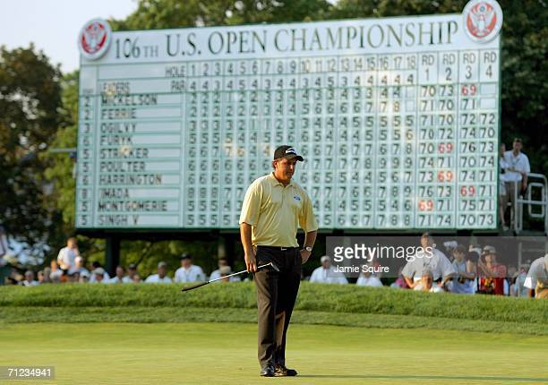 Phil Mickelson stands on the 18th green after his last putt in the final round of the 2006 US Open Championship at Winged Foot Golf Club on June 18...