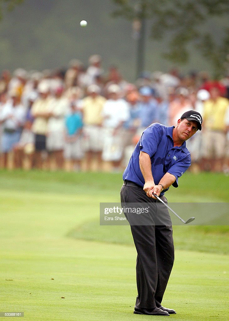 Phil Mickelson takes a shot during the final round of the 2005 PGA Championship at Baltusrol Golf Club on August 14, 2005 in Springfield, New Jersey.