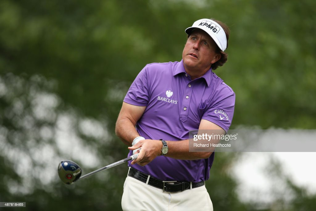 Phil Mickelson tee's off at the 16th during the second round of the Wells Fargo Championship at the Quail Hollow Club on May 2, 2014 in Charlotte, North Carolina.