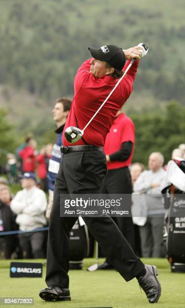 Phil Mickelson tees off at the first during The Barclays Scottish Open at Loch Lomond Glasgow