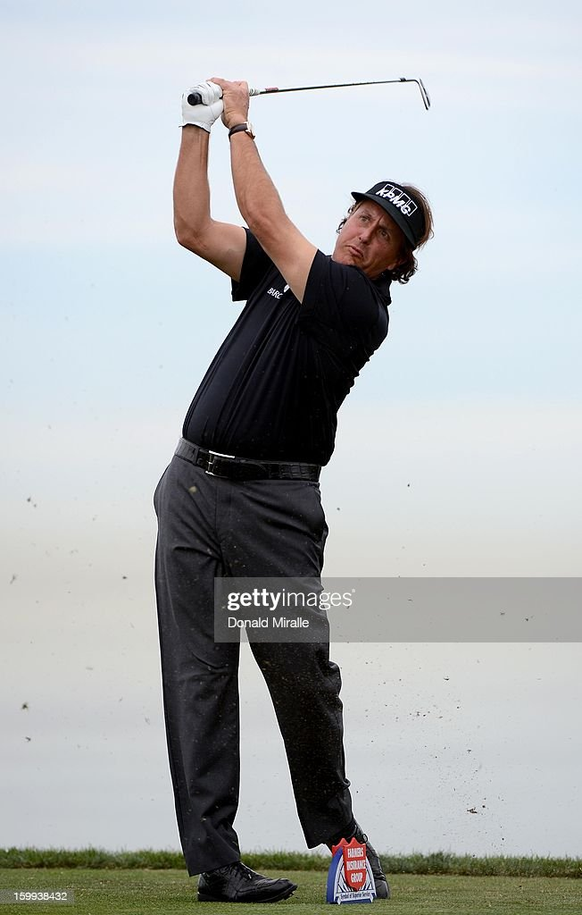 Phil Mickelson tees off the 8th hole during the Pro-Am at the Farmers Insurance Open at Torrey Pines South Golf Course on January 23, 2013 in La Jolla, California.