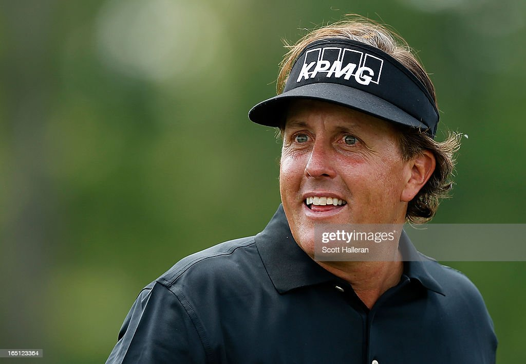 Phil Mickelson waits on the seventh hole during the final round of the Shell Houston Open at the Redstone Golf Club on March 31, 2013 in Humble, Texas.
