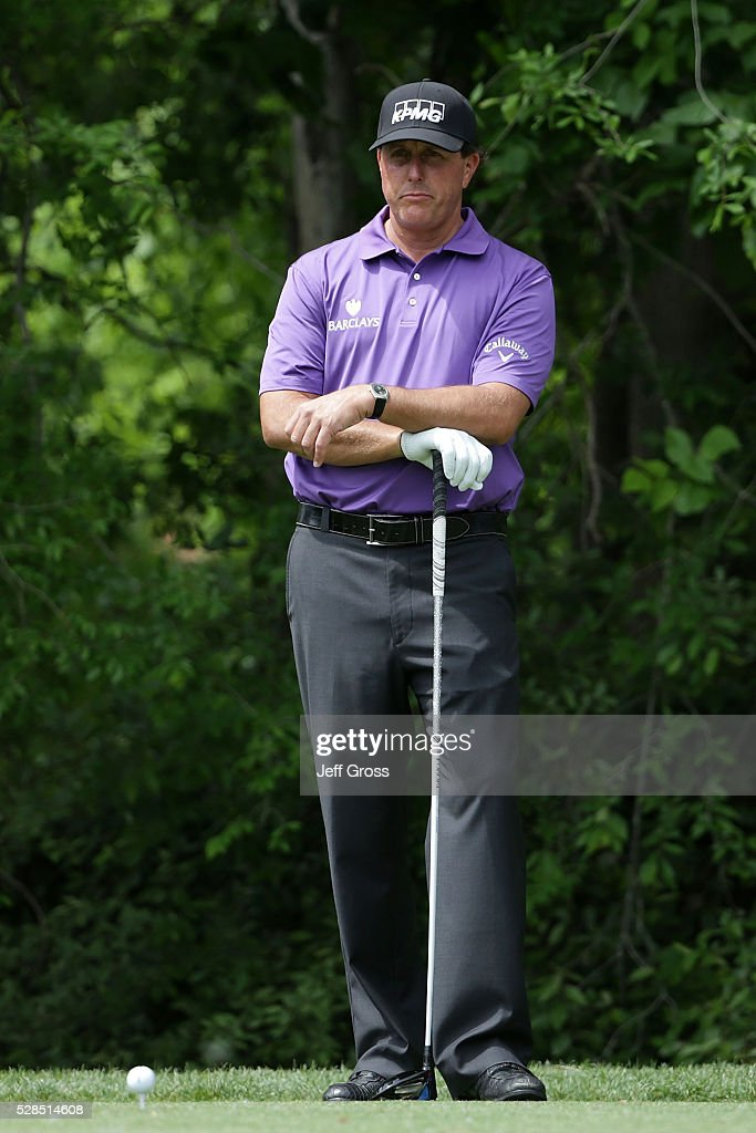 Phil Mickelson waits to hit his tee shot on the seventh hole during the first round of the Wells Fargo Championship at Quail Hollow on May 5, 2016 in Charlotte, North Carolina.