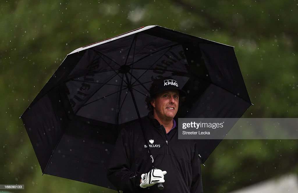Phil Mickelson waits to hit on the 6th hole during the final round of the Wells Fargo Championship at Quail Hollow Club on May 5, 2013 in Charlotte, North Carolina.