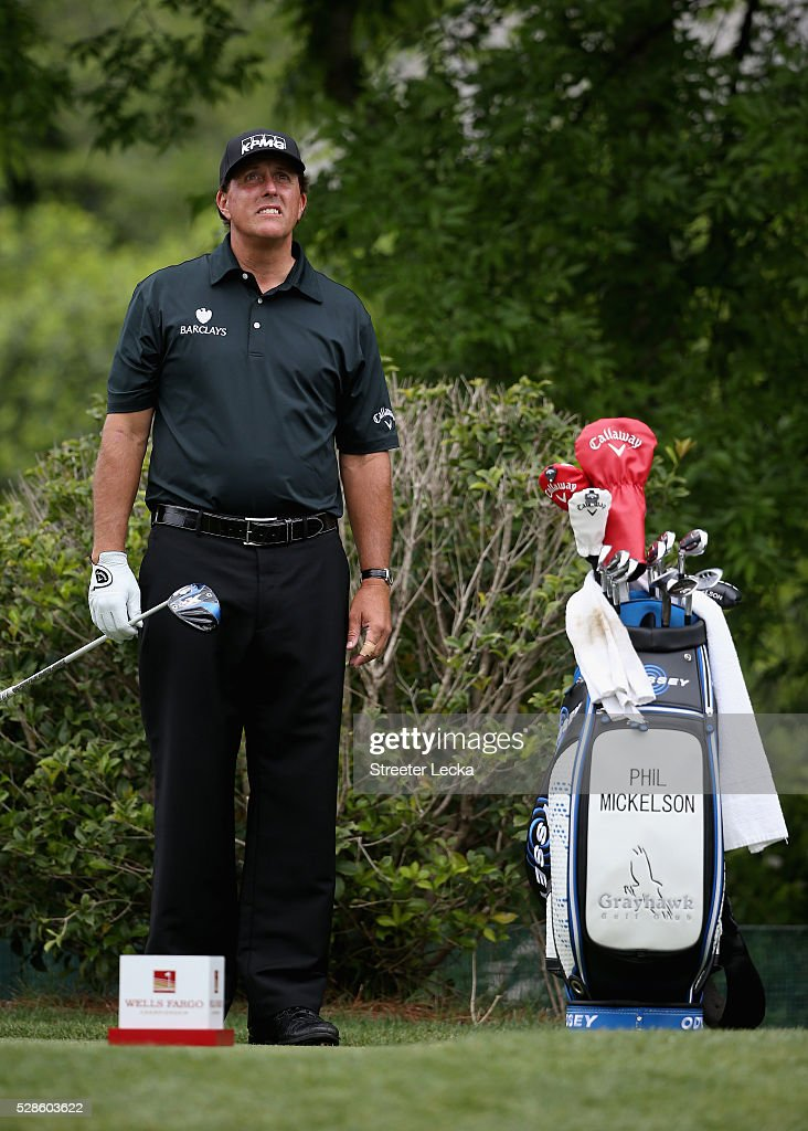 Phil Mickelson waits to hit on the fifth hole during the second round of the 2016 Wells Fargo Championship at Quail Hollow Club on May 6, 2016 in Charlotte, North Carolina.