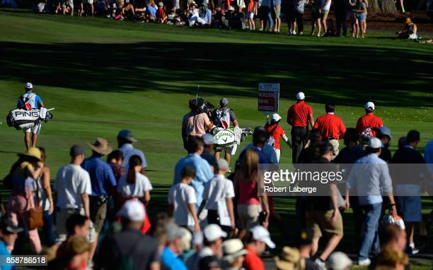 Phil Mickelson walks down the 17th fairway during the third round of the Safeway Open at the North Course of the Silverado Resort and Spa on October...
