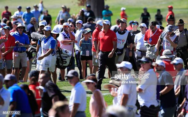 Phil Mickelson walks from the seventh tee during the third round of the Safeway Open at the North Course of the Silverado Resort and Spa on October 7...