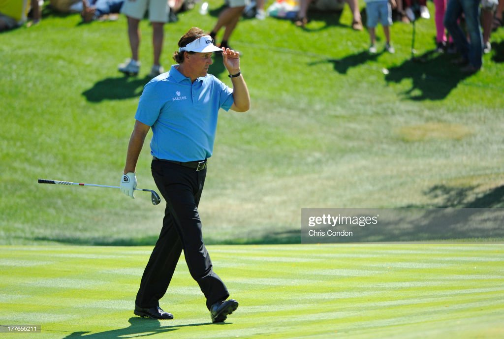 <a gi-track='captionPersonalityLinkClicked' href=/galleries/search?phrase=Phil+Mickelson&family=editorial&specificpeople=157543 ng-click='$event.stopPropagation()'>Phil Mickelson</a> walks to the 16th green during the final round of The Barclays at Liberty National Golf Club on August 25, 2013 in Jersey City, New Jersey.