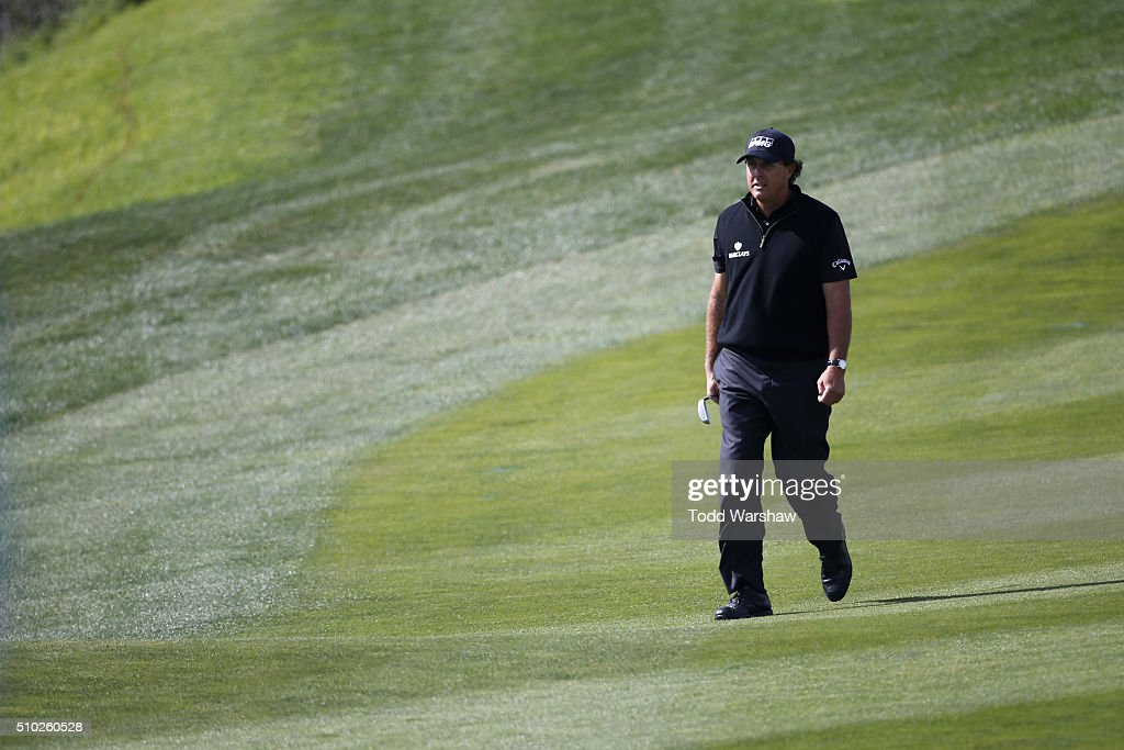 <a gi-track='captionPersonalityLinkClicked' href=/galleries/search?phrase=Phil+Mickelson&family=editorial&specificpeople=157543 ng-click='$event.stopPropagation()'>Phil Mickelson</a> walks to the eighth green during the final round of the AT&T Pebble Beach National Pro-Am at the Pebble Beach Golf Links on February 14, 2016 in Pebble Beach, California.