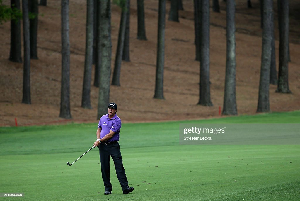 Phil Mickelson watches a shot on the third hole during the first round of the 2016 Wells Fargo Championship at Quail Hollow Club on May 5, 2016 in Charlotte, North Carolina.