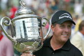 Phil Mickelson with the Wanamaker Trophy after winning the 2005 PGA Championship Baltusrol Golf Club Springfield New Jersey on Monday August 15 2005