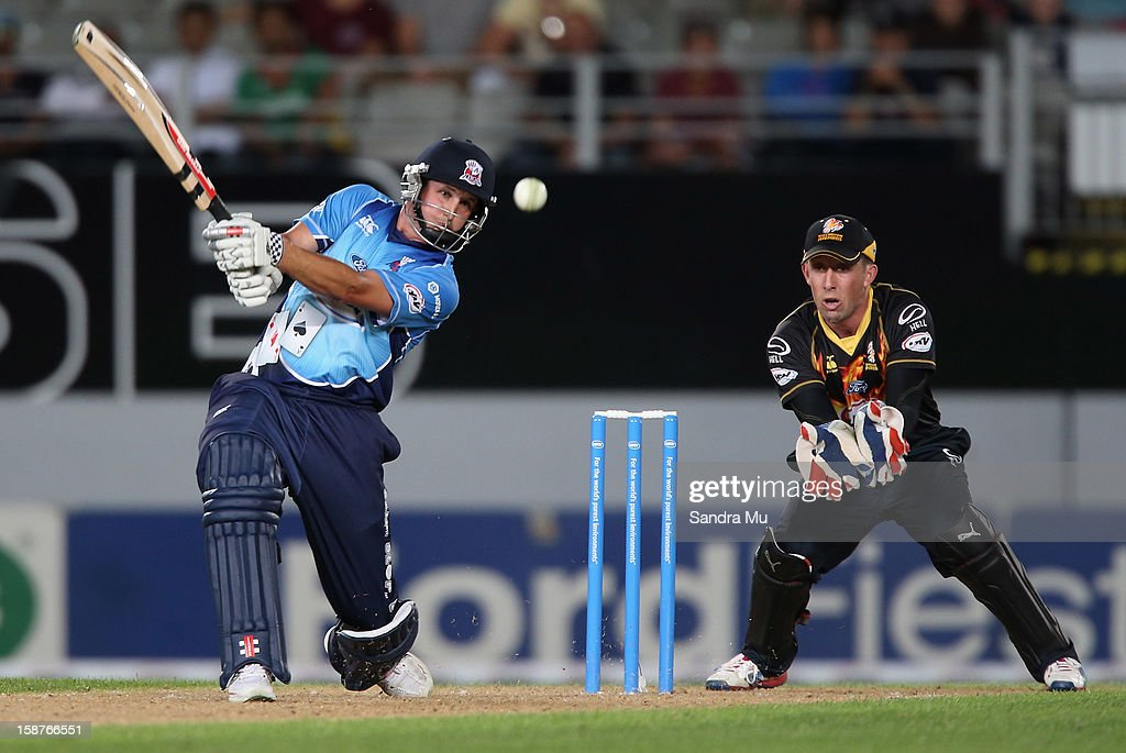 Phil Mustard of Auckland bats during the HRV Cup Twenty20 match between the Auckland Aces and Wellington Firebirds at Eden Park on December 28, 2012 in Auckland, New Zealand.