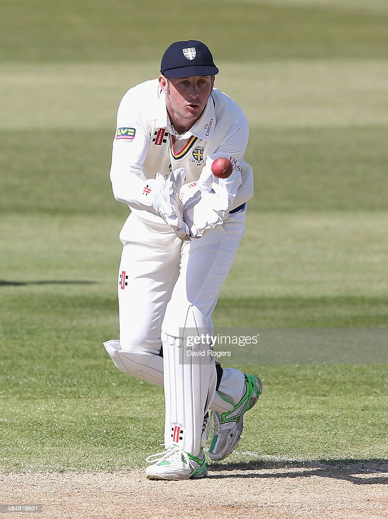 Phil Mustard of Durham catches the ball during the third day of the LV County Championship Division One match between Northamptonshire and Durham at...
