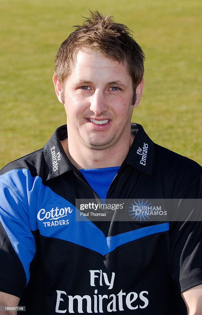 Phil Mustard of Durham CCC wears the FriendsLife T20 kit during a pre-season photocall at The Riverside on April 3, 2013 in Chester-le-Street, England.