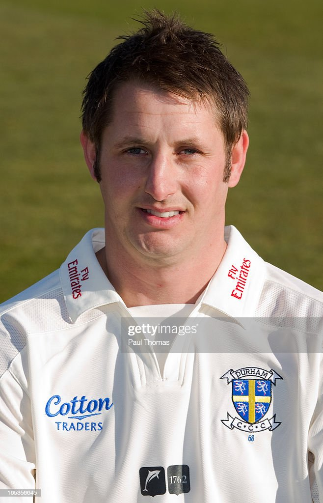 Phil Mustard of Durham CCC wears the LV= County Championship kit during a preseason photocall at The Riverside on April 3 2013 in ChesterleStreet...