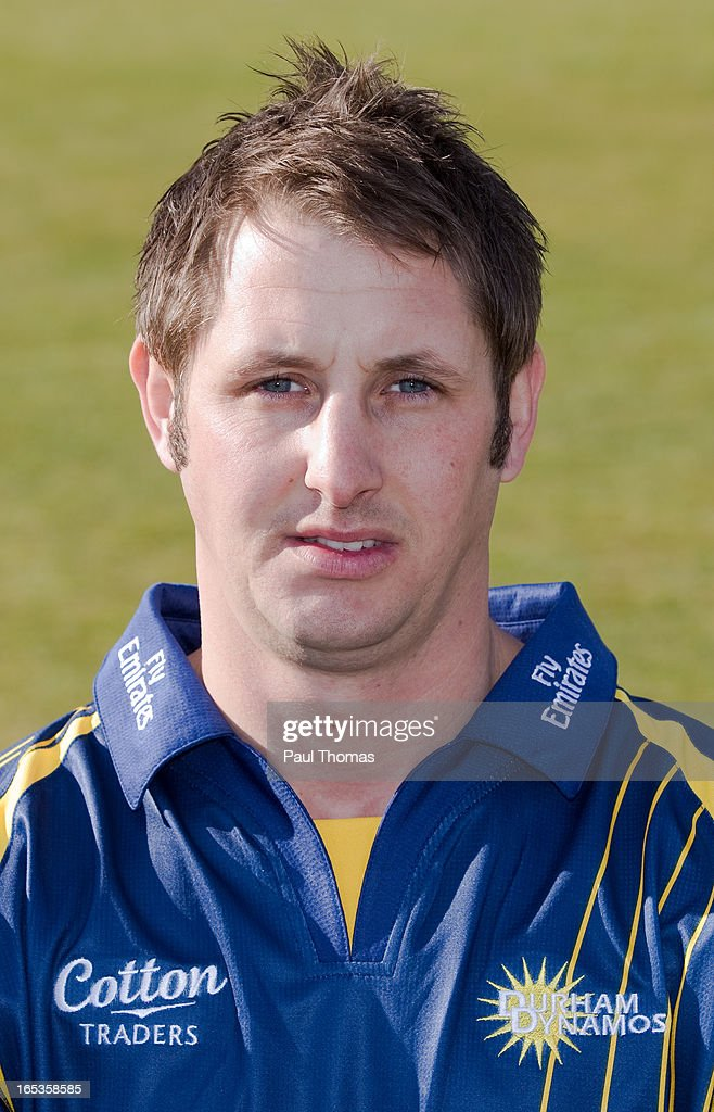 Phil Mustard of Durham CCC wears the Yorkshire Bank 40 kit during a pre-season photocall at The Riverside on April 3, 2013 in Chester-le-Street, England.