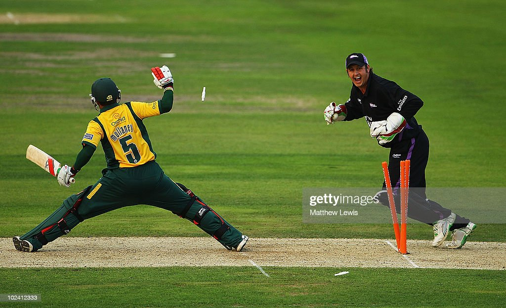 Phil Mustard of Durham celebrates stumping Steven Mullaney of Nottinghamshire off the bowling of Ian Blackwell during the Friends Provident T20 match...