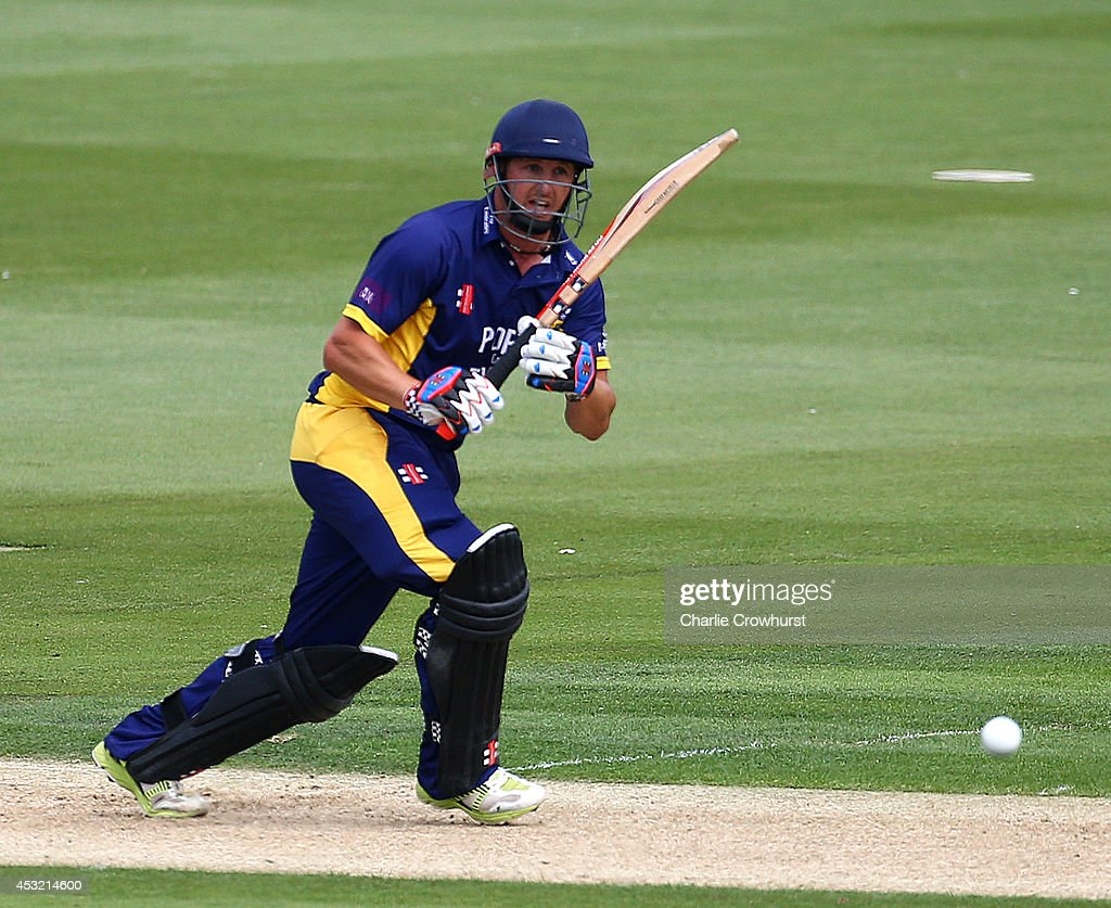 Phil Mustard of Durham hits out during Royal London OneDay Cup match between Sussex Sharks and Durham at The BrightonHoveJobscom Ground on August 05...