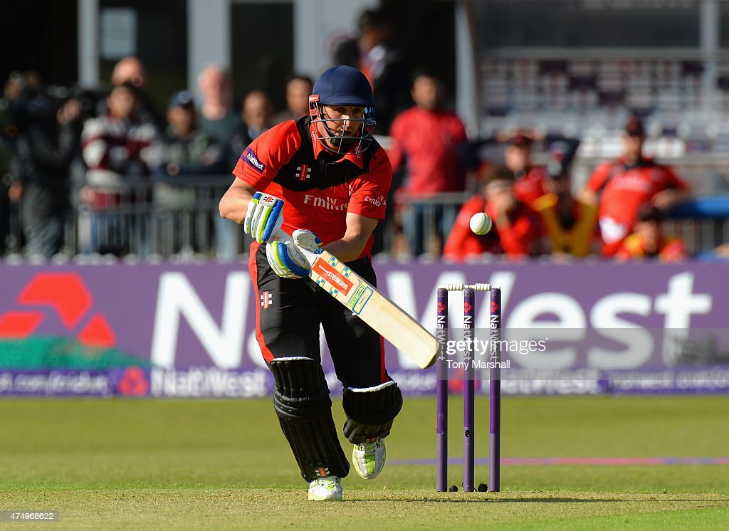 Phil Mustard of Durham Jets bats during the NatWest T20 Blast match between Leicestershire Foxes and Durham Jets at Grace Road on May 28 2015 in...