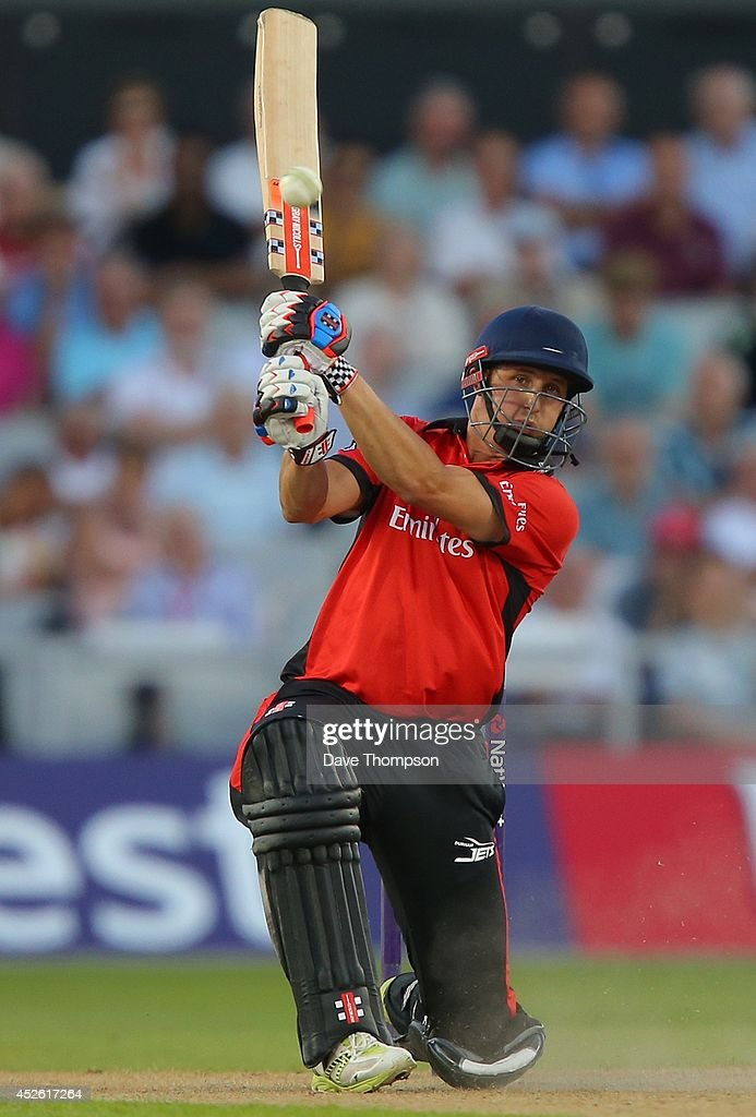 Phil Mustard of Durham Jets plays a shot during the Natwest T20 Blast match between Lancashire Lightning and Durham Jets at Old Trafford on July 24...