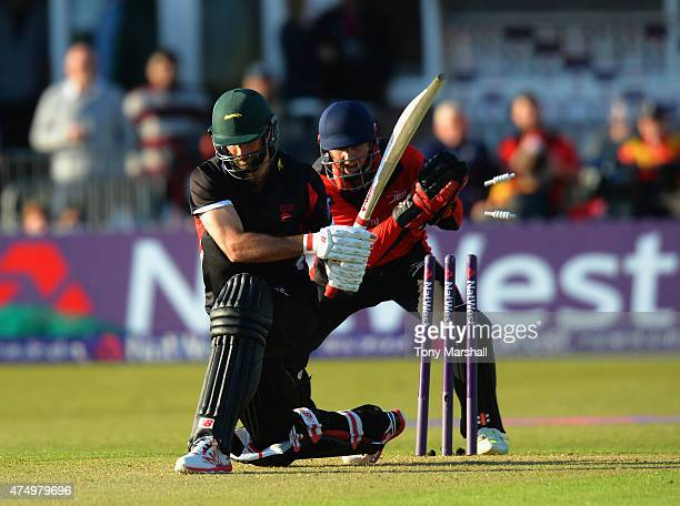 Phil Mustard of Durham Jets takes the bails off as Grant Elliott of leicestershire Foxes bats during the NatWest T20 Blast match between...