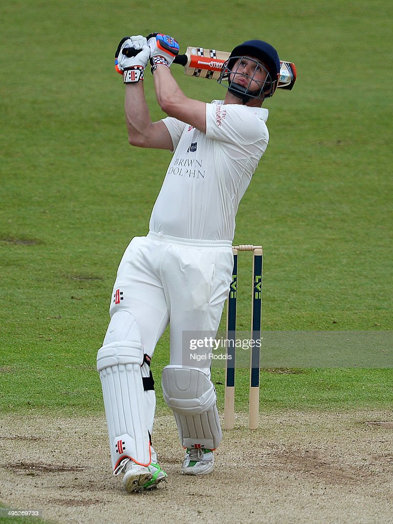 Phil Mustard of Durham plays a shot during The LV County Championship match between Durham and Middlesex at The Riverside on June 2 2014 in...