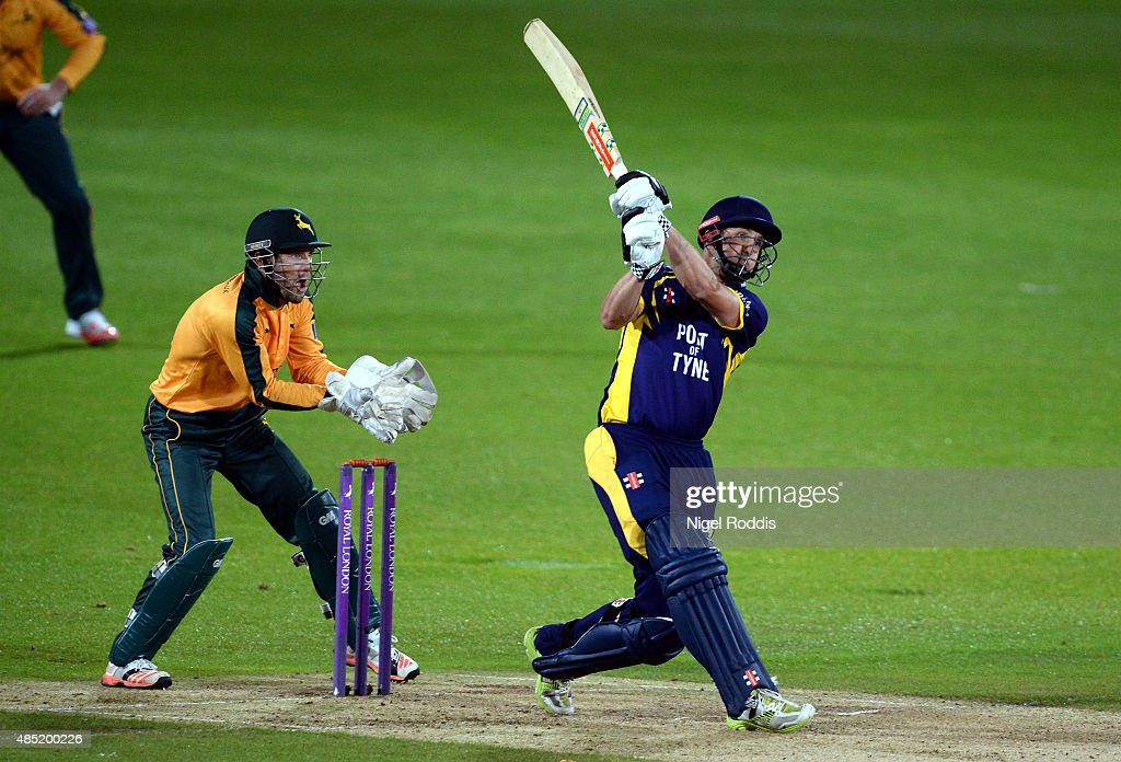 Phil Mustard of Durham plays a shotduring the Royal London OneDay Cup Quarter Final between Nottinghamshire and Durham at Trent Bridge on August 25...