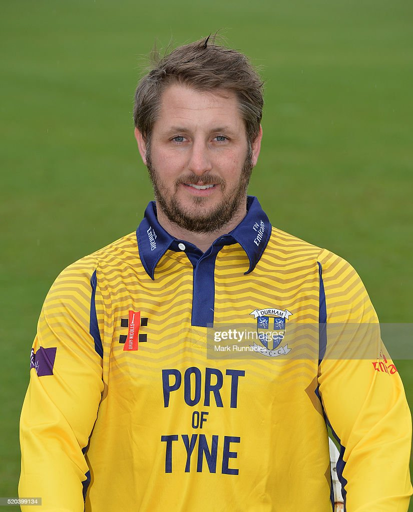 Phil Mustard of Durham poses for a photograph in the One Day kit during the Durham County Cricket Club photocall at the Riverside on April 8 2016 in...