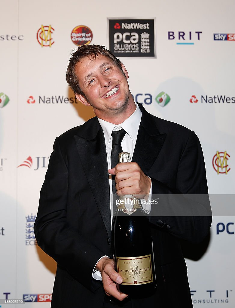 Phil Mustard of Durham receives the FTI Team of the Year Award during the Natwest PCA Awards dinner at The Roundhouse on October 3 2013 in London...