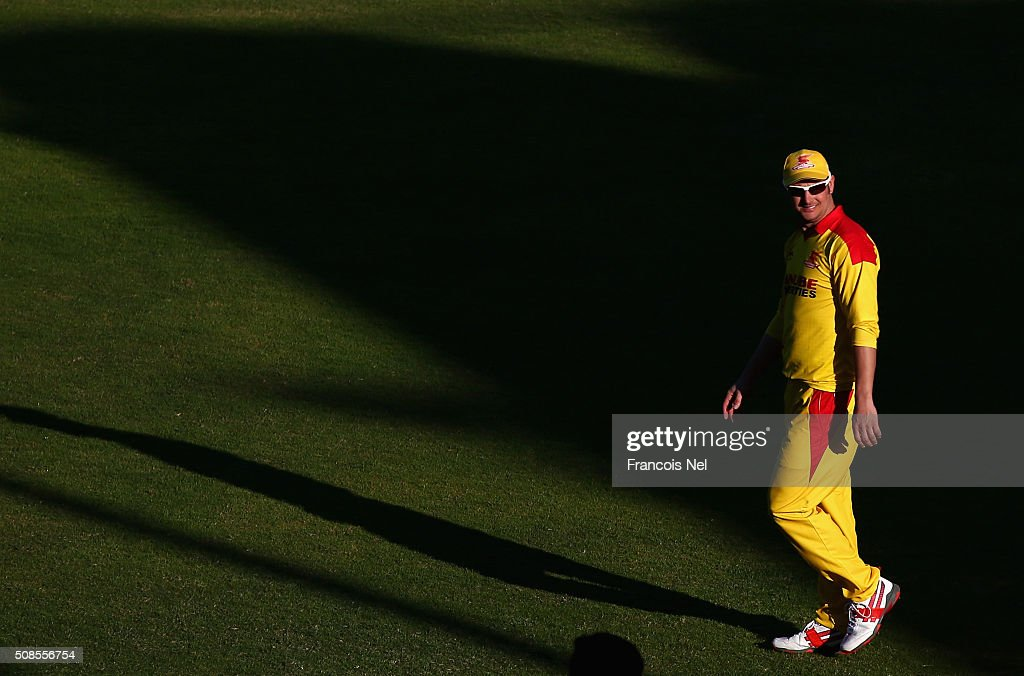 Phil Mustard of Sagittarius Strikers looks on during the Oxigen Masters Champions League match between Sagittarius Strikers and Gemini Arabians at...