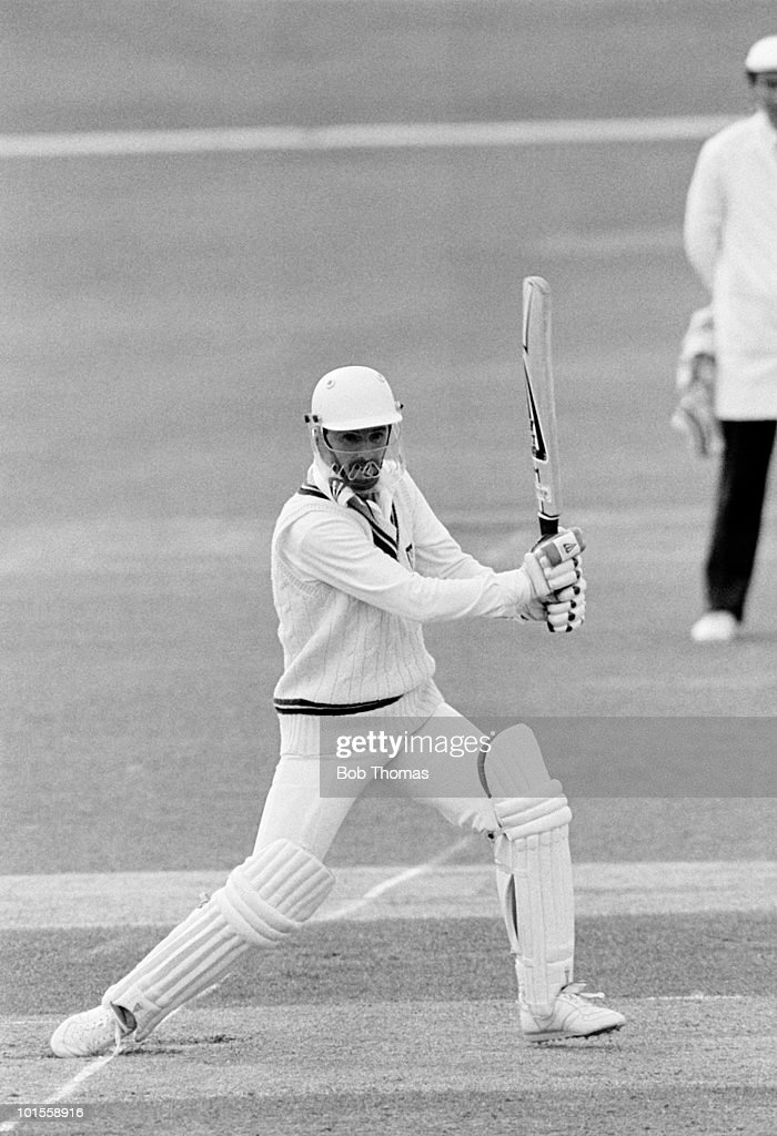 Phil Neale batting for Worcestershire against Warwickshire during a County Championship cricket match held at Edgbaston, Birmingham on 24th May 1986. Worcestershire won by 71 runs. (Bob Thomas/Getty Images).