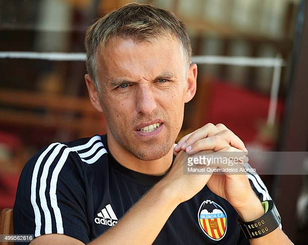 Phil Neville attends Valencia CF training at Ciudad Deportiva Paterna on September 23 2015 in Valencia Spain