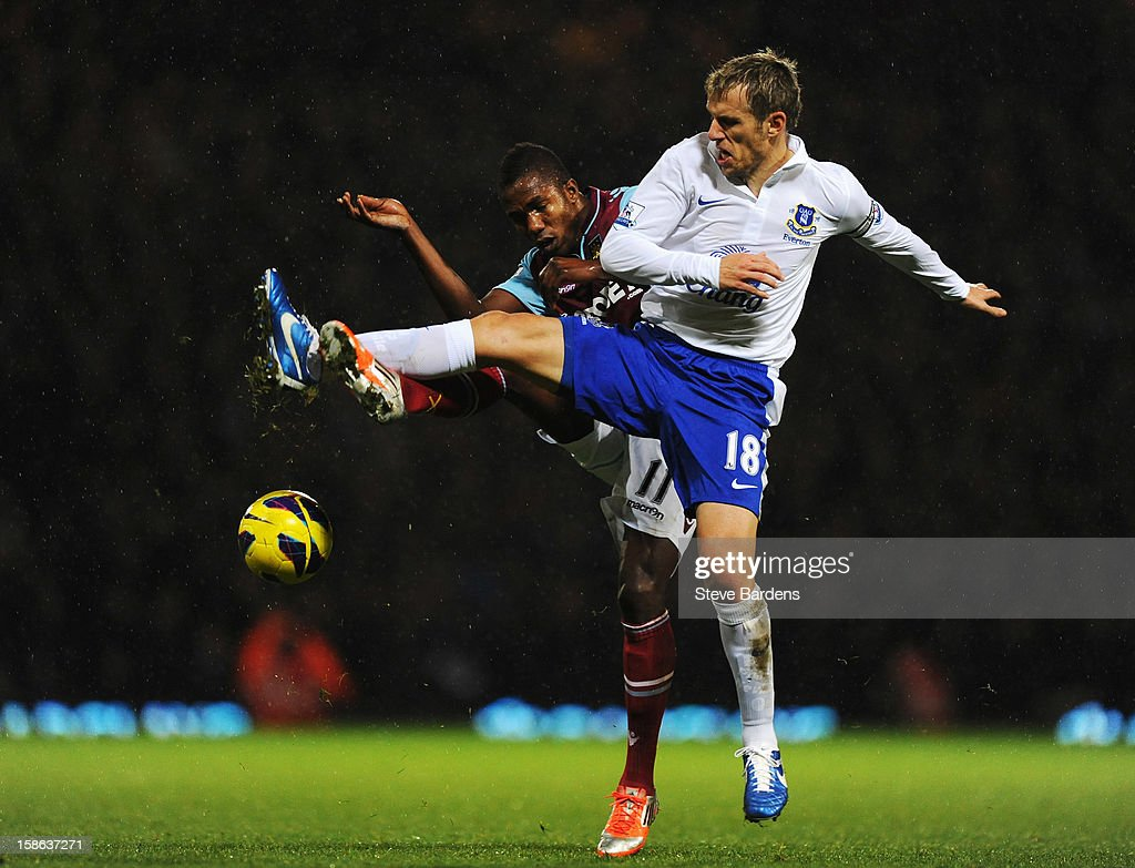 <a gi-track='captionPersonalityLinkClicked' href=/galleries/search?phrase=Phil+Neville&family=editorial&specificpeople=201898 ng-click='$event.stopPropagation()'>Phil Neville</a> (R) of Everton and Modibo Maiga (L) of West Ham United challenge for the ball during the Barclays Premier League match between West Ham United and Everton at the Boleyn Ground on December 22, 2012 in London, England.