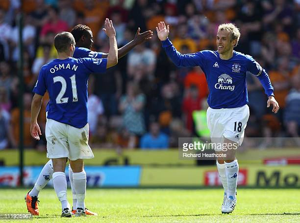 Phil Neville of Everton celebrates scoring the second goal during the Barclays Premier League match between Wolverhampton Wanderers and Everton at...