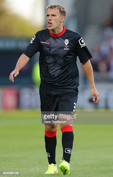 Phil Neville of the Class of '92 XI during the match between Salford City and the Class of '92 XI at AJ Bell Stadium on August 7 2014 in Salford...