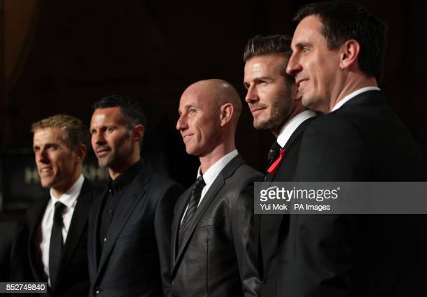 Phil Neville Ryan Giggs Nicky Butt David Beckham and Gary Neville arriving for the World premiere of documentary film The Class of 92 detailing the...