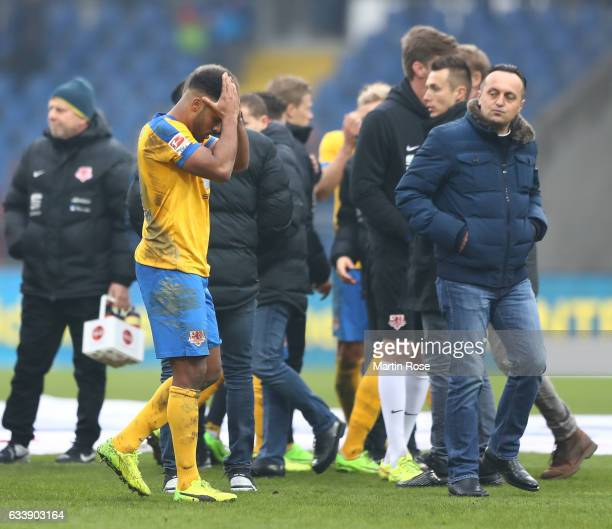 Phil OfosuAyeh of Braunschweig looks dejected after the Second Bundesliga match between Eintracht Braunschweig and FC St Pauli at Eintracht Stadion...