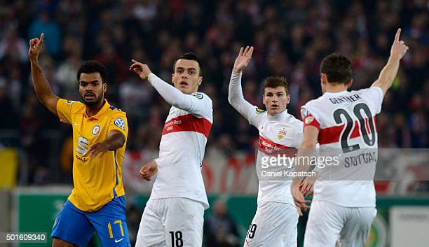 Phil OfosuAyeh of Braunschweig reacts during the round of sixteen DFB Cup match between VfB Stuttgart and Eintracht Braunschweig at MercedesBenz...