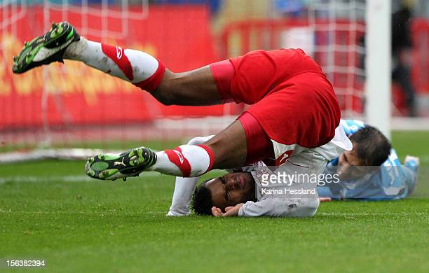 Phil OfosuAyeh of Erfurt on the ground during the Third League match between RW Erfurt and Chemnitzer FC at Steigerwald Stadion on November 10 2012...