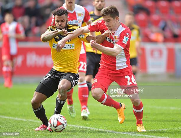 Phil OfosuAyeh of VfR Aalen and Valmir Sulejmani of 1 FC Union Berlin during the game between Union Berlin and VfR Aalen on april 12 2015 in Berlin...